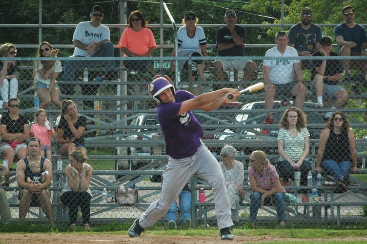 Niagara American Legion's Ben Snyder hits against Marquette on Thursday at Gerard Haley Memorial Field in Marquette. (The Mining Journal)