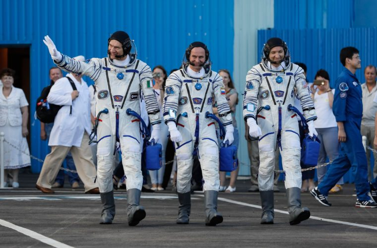 AP Photo U.S. astronaut Randy Bresnik, right, Russian cosmonaut Sergey Ryazanskiy, centre, Italian astronaut Paolo Nespoli, members of the main crew of the expedition to the International Space Station (ISS), walk prior the launch of Soyuz MS-05 space ship at the Russian leased Baikonur cosmodrome, Kazakhstan, Friday.