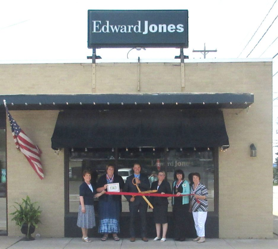 Chris Tomassucci/Daily News photo THE EDWARD JONES office, with financial adviser Matt Lockhart, has become a member of the Dickinson Area Chamber Alliance. At the ribbon-cutting ceremony, from left, are Lynda Zanon, chamber director; ambassador Trisha Peterson; Lockhart; branch office administrator Carrie Schalow; and ambassadors Teresa Schettler and Sally Blom.