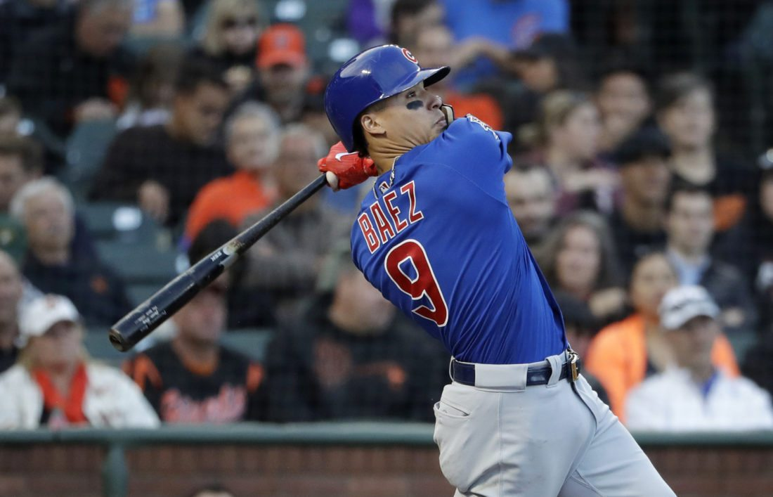 Chicago Cubs Javier Baez Follows Through On An Inside The Park Home Run