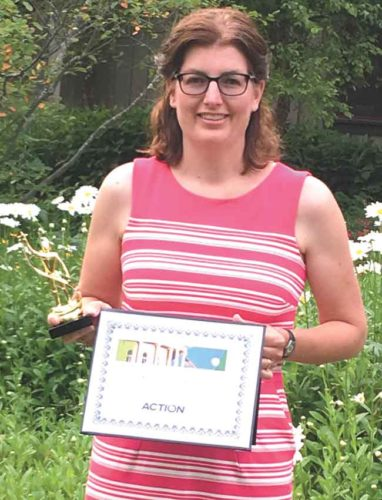 KRISTIN SOMMERFELD WITH her graduation certificate after completing the MCA Leadership Development Institute program in Thompsonville, Mich. She is executive assistant and human resource manager for the Dickinson-Iron Community Services Agency.