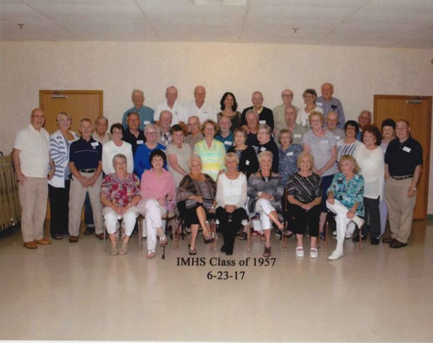 Pictured are members of Iron Mountain High School Class of 1957 at their 60th reunion. Seated in the first row, from left, are Beatrice (Colantonio) St. Onge, Marlene (Moratti) Alessandrini, Patricia (Tousignant) Rosenblum, Greta (Hedlund) Michaud, Judy (Thompson) Johnson, Kathleen (Schinderle) Sanford and Mary (Kelly) Gelhoff. Second row are Alfred Spigarelli, Betty (Fitzsimmons) Seymour, Karen (Larson) Cerasoi, Kay (Harvy) Verrette, Donna (Minutello) Mannigel, Julie (Nault) Plude, Frances (Formolo) Sundlach, Joan (Carollo) Bradley, Judy (Wonders) Occhietti, Barbara (Swor) Marinelli, Phyllis (Mortel) Williams and Eugene DuCharme. Third row are Donald Antonetti, Loretta (Daley) Hirn, Robert Gauthier, Ray Famiani, Bill Clarke, David Sgrecci, Lamar Sherlund, Roger Dickerson, Larry Holtien, Bill Verrette, Derick Mortensen and Judy (Becco) Schillerstrom. Back row are Frank Pallconi, Bill Roberts, Don Stefanelli, Judy (Oradei) Terrizzi, Bob Furno, Clyde Unger, Jeanette (Raiche) Morelli and Jerry Morelli. Not pictured are Joe Cerasoli and Richard Giancola.
