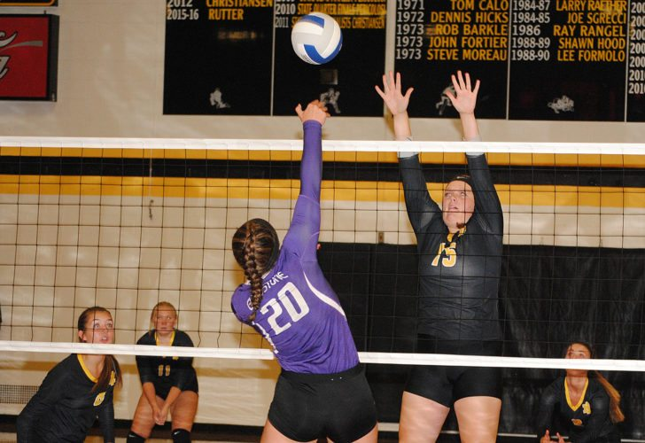 Iron Mountain's Emma Thomann (15) goes up for a block on Gladstone's Saige Sisson (20) in Tuesday's Mid-Peninsula Conference volleyball match. (Burt Angeli/The Daily News)