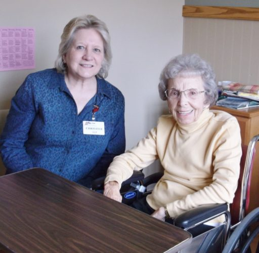 NEW SPEECH LANGUAGE pathologist Christine Harkness discusses her plan for therapy with Dorothy Carlson at the Iron County Medical Care Facility.