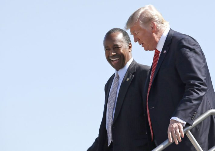 PRESIDENT DONALD TRUMP and Housing and Urban Development Secretary Ben Carson step off Air Force One after arriving Wednesday in Reno, Nev. (AP Photo/Alex Brandon)