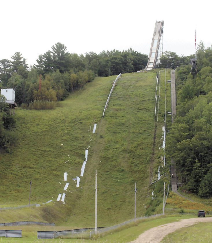 The side boards have been removed to prepare for hill modifications and new marker steps at Giant Pine Mountain, thanks to a roughly $24,000 donation from 100-Plus Women Who Care in Dickinson County to the Kiwanis Ski Club. (Theresa Proudfit/Daily News photo)