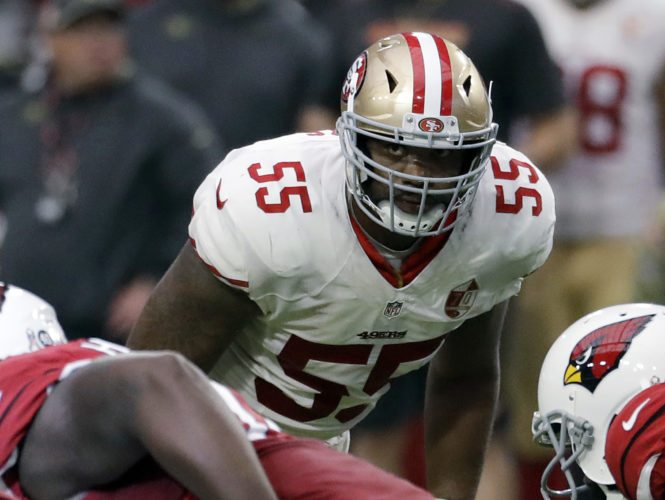 Outside linebacker Ahmad Brooks (55), was released by the San Francisco 49ers last week. He signed a 1-year deal with Green Bay this week. (AP Photo/Rick Scuteri, File)