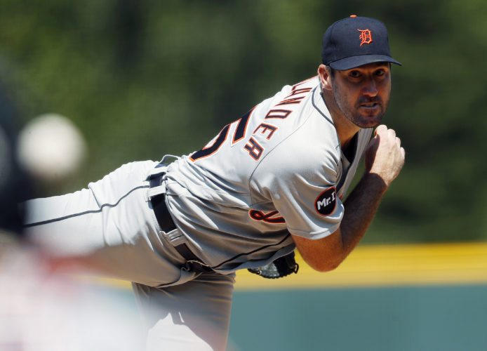 Detroit Tigers starting pitcher Justin Verlander was traded to the Houston Astros late Thursday night,  reportedly one minute before the waiver trade deadline at midnight. (AP Photo/David Zalubowski)