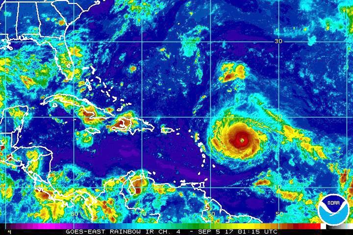 THIS SATELLITE IMAGE provided by the National Oceanic and Atmospheric Administration shows Hurricane Irma nearing the eastern Caribbean. (NOAA via AP)