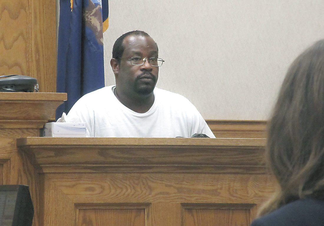 PAUL SCOTT, ACCUSED of selling heroin in the Iron Mountain-Kingsford area, testifies Tuesday in his own defense in Dickinson County court. (Nikki Younk/Daily News photo)