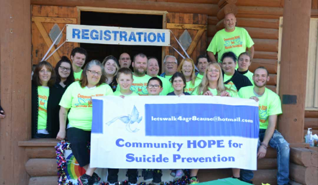 Community HOPE for Suicide Prevention volunteers shown here, from left, front, Andrea Howorth, co-chairwoman; Jerah Waitrovich; Joah Waitrovich; Felicia Hall; Carole Waitrovich, chairwoman; Mike Holmberg; second row, Bernice St. John; Heather Troyer, Beacon Ambulance; Ashley Holcomb, Beacon Ambulance; David Howorth Jr.; Julie Fende; Dawn Archambeault; Dylan Hagerty; third row, Jonah Waitrovich; Randall St. John; Pat St. John; Ted Jensen, treasurer; Leon Waitrovich II; Paul Archambeault.