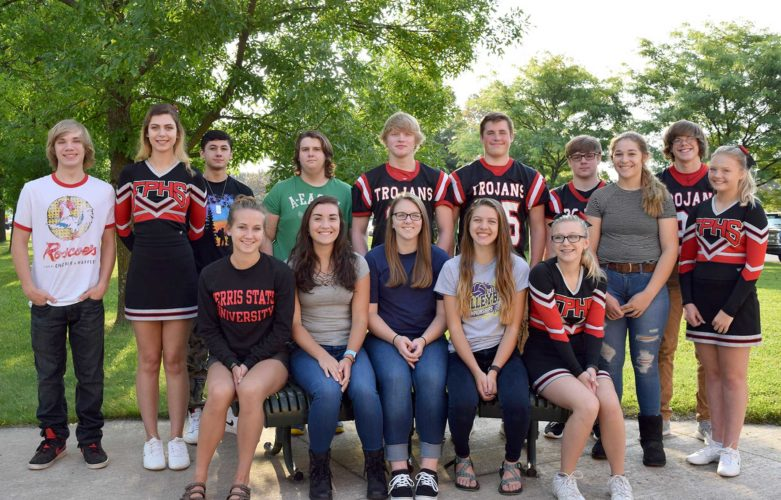 MEMBERS OF THE Forest Park Homecoming Court: from left, sitting, are senior girl representatives Kristin Stacy, Lily Wesseln, Megan Aberly, Hannah Cross and Jordyn Rajala; standing are junior representatives Arron Stebic and Tori Ashcraft; senior boy representatives Sage Alcantara, Cody Byczek, Peter Ropiak and Jonah Logan; sophomore representatives Noah Gilner and Sydney Honkala; and freshmen representatives Tommy Showers and Aubrianna Ahola.