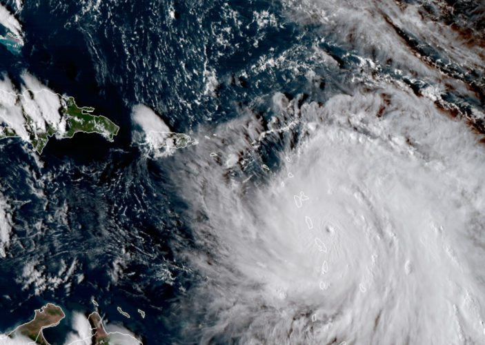 NASA via AP THIS SATELLITE IMAGE provided by NASA shows the eye of Hurricane Maria as it nears Dominica. The National Hurricane Center in Miami said Monday evening that Air Force Reserve hurricane hunter planes found Maria had strengthened into a Category 5 storm with 160 mph winds.