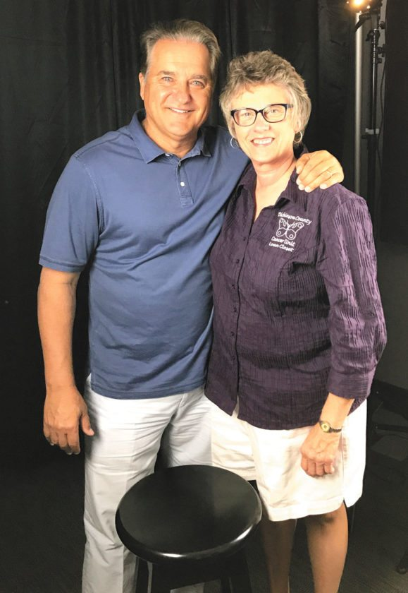 Former NFL coach and Iron Mountain native Steve Mariucci is pictured with Diane Schabo, president of the Dickinson Cancer Unit Loan Closet, which will benefit from the Iron Mountain Road and Trail Half Marathon on Saturday. The Mariucci Family Foundation is a title sponsor for the event.