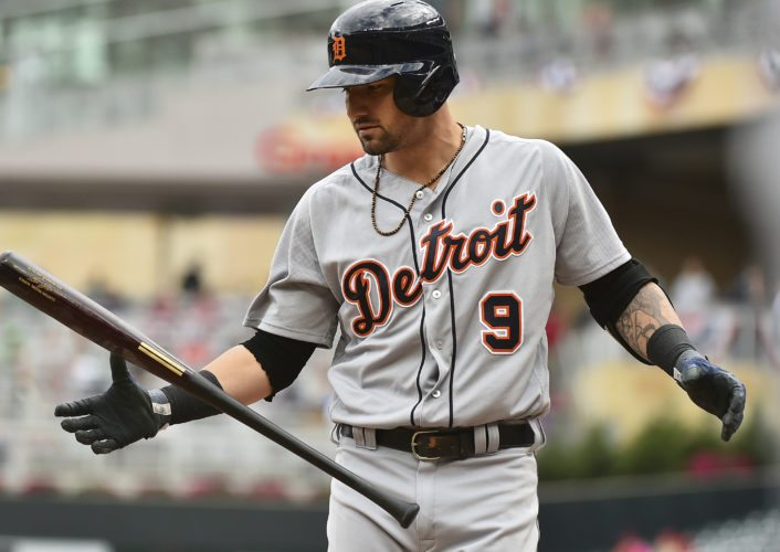 Detroit Tigers hitter Nicholas Castellanos flips his bat after striking out against the Minnesota Twins on Sunday in Minneapolis. Minnesota won 5-1. (AP Photo/John Autey)