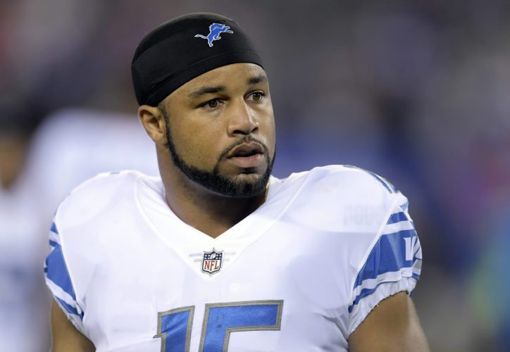 Detroit Lions wide receiver Golden Tate (15) looks on before a Sept. 18 game against the New York Giants in East Rutherford, N.J. The mass shooting in Las Vegas has affected Lions receiver Golden Tate. While playing for the Seattle Seahawks, Tate survived a night at a bar that was sprayed with bullets. (AP Photo/Bill Kostroun, File)