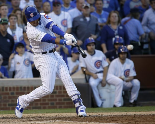Chicago Cubs' Albert Almora Jr. hits an RBI single during the seventh inning of Game 3 of a National League Division Series game against the Washington Nationals Monday in Chicago. (AP Photo/Nam Y. Huh)