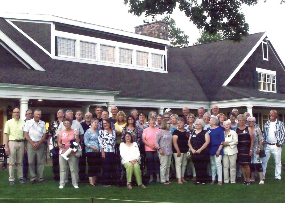 Kingsford High School Class of 1967 got together for its 50th class reunion this summer at Pine Grove. There was a wonderful turnout and plenty of fun was had by all. Front row, from left, are Nancy Grode Stone, Mary Mackie Mroz, Jean Miller Wartock, Darlene Gardner Haigh, Kathleen Harsch Foster, Kathy Olson Rumpf, Kathy Baxter Oliva, Jenny Reischer Redfern, Pat Pirlot Lund, Cheryl Lundquist Chartier, Alice Hodgins Weaver and Pat Visintainer Pearman; middle row are Albert Santoni, Michael Ciochetto, Gary Berger, John Ellis, Michael McAuliffe, Peggy Johnson Olsen, Kathy Jones DePas, Donna Beyer Culler, Fay Partanen Podgornik, Lu Dougvetto Meneghini, Nancy Kujola D'Amour, Joy Baravetto Flanerly, Diane Wender Pontrelli, Beverly Weecks Sharp, Diane Mainville Carlson and Becky Gagnon Roberts; back row are Bob Johnson, Jeff Poupore, Bill Haigh, Gene Tortelle, Allen Mann, Frank Derouin, Pete Monette, Bill Henry, Dean Freeberg, Jeff Franson, Brian Schuelke, Bob Krueger and Todd Domenget. Not pictured are Barb Cesario Raffin, Wendy Houtari Larson and Joe Patrick.