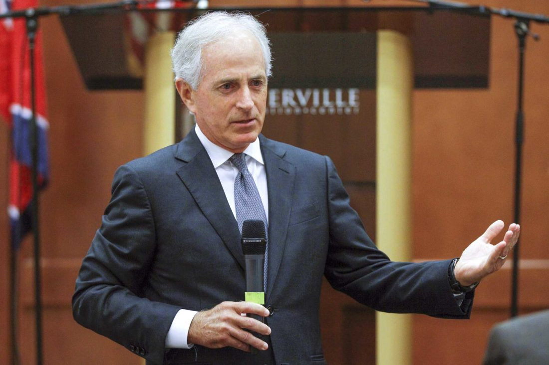 SEN. BOB CORKER, R-Tenn., speaks Aug. 16 in Sevierville, Tenn. Always one to speak his mind, Corker's new free-agent status should make President Donald Trump and the GOP very nervous. The two-term Tennessee Republican isn't seeking re-election. (AP Photo)