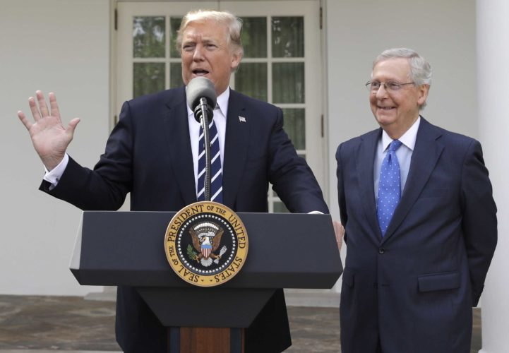 PRESIDENT DONALD TRUMP answers questions with Senate Majority Leader Mitch McConnell, R-Ky., in the Rose Garden after their meeting Monday at the White House. (AP Photo/Evan Vucci)