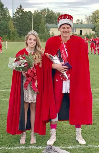 Juniors  Ellie LaBonte and Brady Eichmeier were crowned Homecoming  queen and king prior to the North Central football game Oct. 6 vs. Carney-Nadeau.
