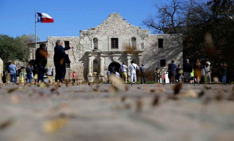 "AP Photo Guests visit the grounds of the Alamo in San Antonio in 2016 file photo. Texas Land Commissioner George P. Bush is overseeing a 7-year, $450 million revamp of the Alamo, where 189 independence fighters were killed in 1836. That includes restoration of historical structures and building a new museum and visitors' center. But some conservatives worry that the importance of the battle for the Alamo will be marginalized by ""political correctness,"" with the overhaul sanitizing less-desirable aspects of participants' history, including that some were slaveholders."