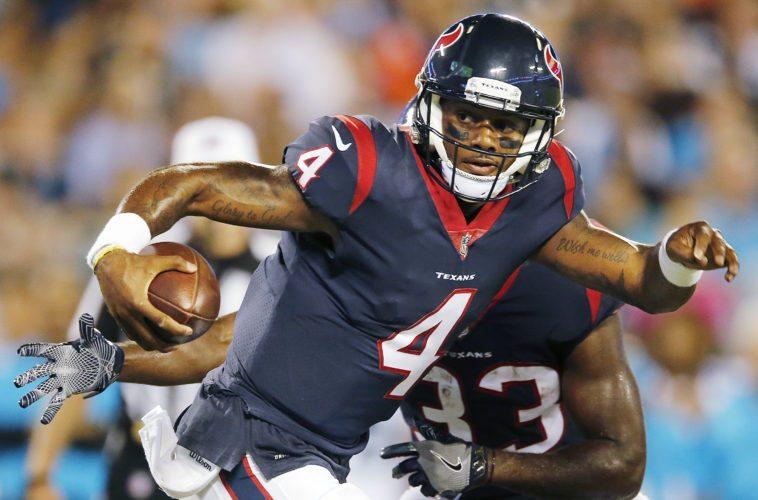Houston Texans quarterback Deshaun Watson (4) sustained a season-ending knee injury in practice on Thursday.  The rookie suffered a torn anterior cruciate ligament. (AP Photo/Jason E. Miczek, File)