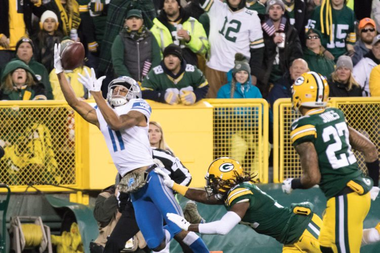 Detroit Lions wide receiver Marvin Jones Jr. (11) makes a touchdown catch against the Green Bay Packers on Monday, Nov. 6, 2017, in Green Bay, Wis. (Adam Niemi/Iron Mountain Daily News)