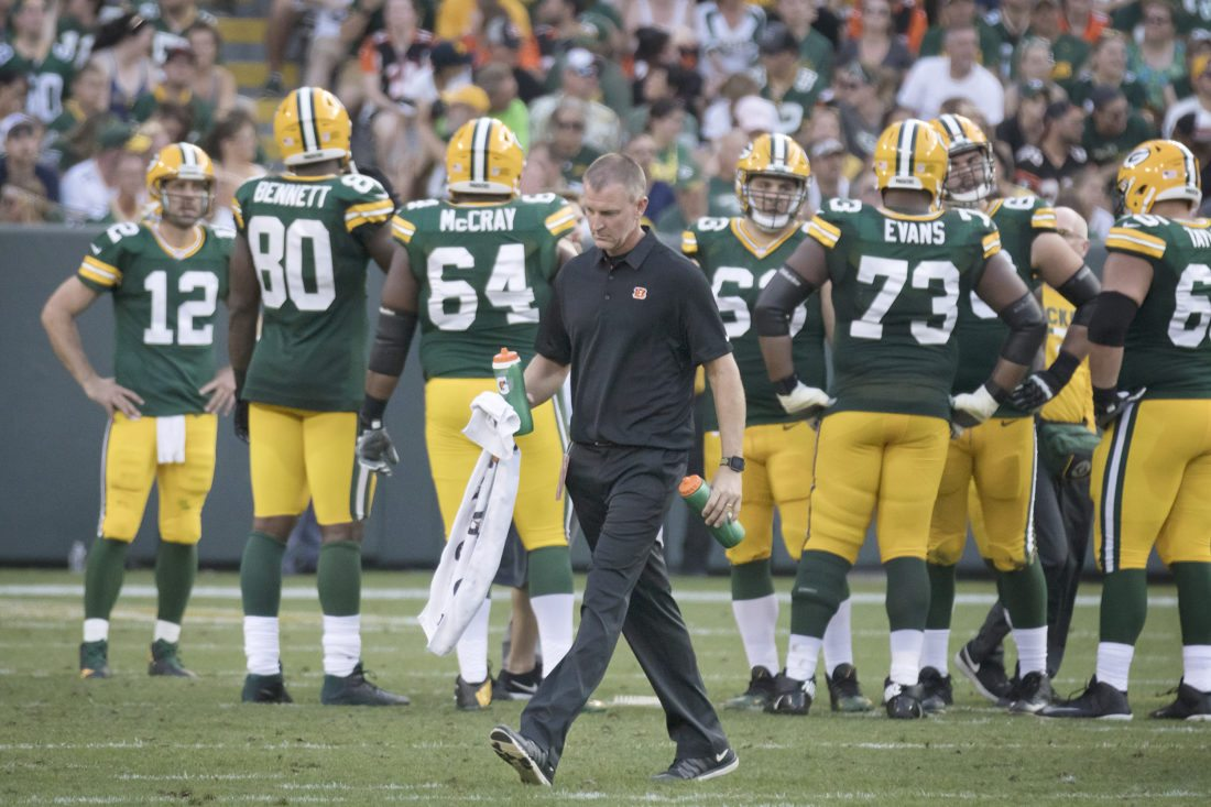 Jon Jungwirth walks off the field during a game between the Green Bay Packers and Cincinnati Bengals on Sunday, Sept. 24, 2017, in Green Bay, Wis. Jungwirth said he is a lifelong Packers fan. (Adam Niemi/Iron Mountain Daily News)