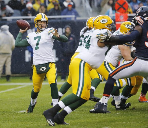 Green Bay Packers quarterback Brett Hundley (7) throws during the first half of an NFL football game against the Chicago Bears, Sunday, Nov. 12, 2017, in Chicago. (AP Photo/Charles Rex Arbogast)