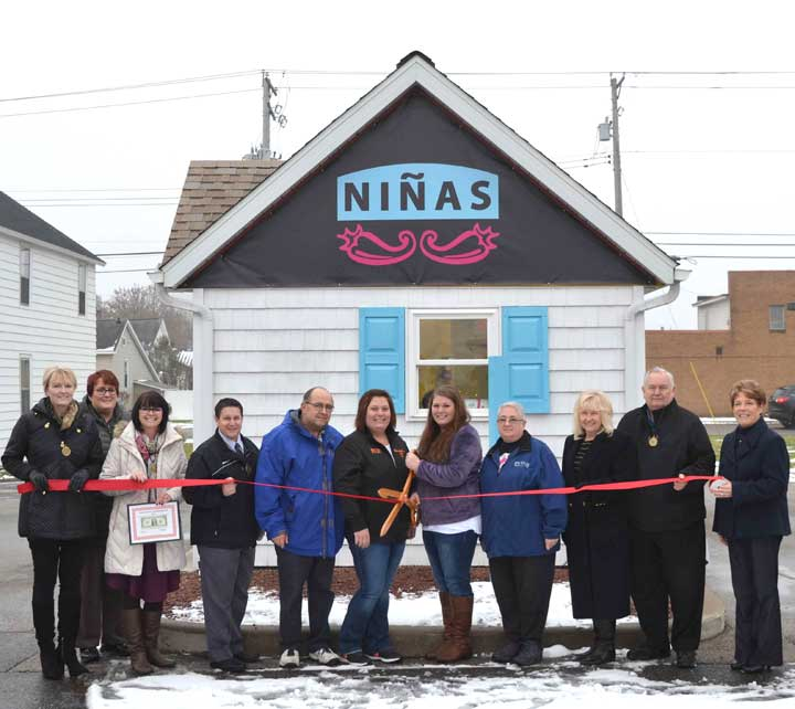 ATTENDING THE DICKINSON Area Chamber Alliance Ambassadors' recent ribbon-cutting ceremony for Ninas are, from left, ambassadors Suzanne Anderson, Trisha Peterson, Teresa Schettler and Ben Ryan; Cliff Dom and Annie Rugg, Ninas owner Meagan Philipson and her grandmother, Luanne Dom; ambassadors Patti Schneider and Joe Testolin; and Chamber Director Lynda Zanon. (Chris Tomassucci/Daily News photo)