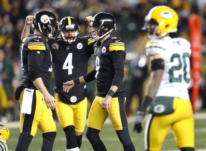 Pittsburgh Steelers kicker Chris Boswell (9) celebrates his game-winning field goal with holder Jordan Berry (4) and long-snapper Kameron Canaday, left, against the Green Bay Packers in Pittsburgh on Sunday, Nov. 26, 2017. The Steelers won 31-28. (AP Photo/Keith Srakocic)
