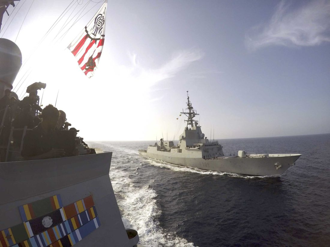 THE SPANISH NAVY frigate Alvaro de Bazan, right, cruises alongside the destroyer USS Carney, left, off the coast of Rota, Spain, in the Mediterranean Sea in 2016. Bath Iron Works in Bath, Maine, said it is partnering with the Spanish builder of the Alvaro de Bazan on a new design for up to 20 frigates for the U.S. Navy. (Weston Jones/U.S. Navy via AP)