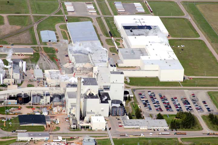 AN AERIAL VIEW of the Verso Corp. paper mill in Quinnesec. Verso and Breitung Township have agreed to reduce the taxable value for Verso's two parcels in Quinnesec by about $17 million, or by 61 percent.