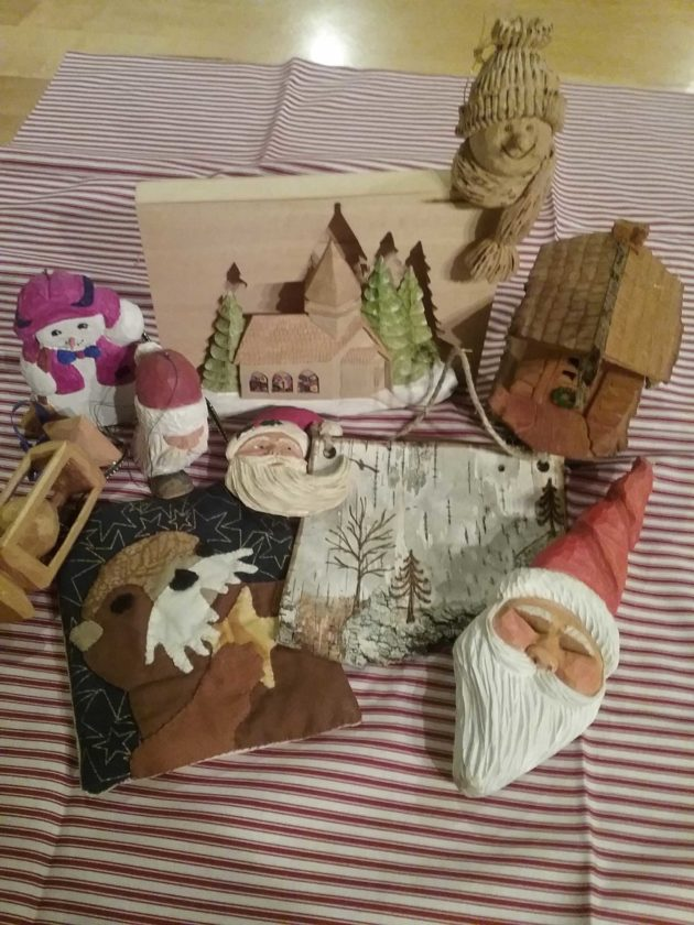 Some of the great examples of woodcarving, painting, wood burning and fabric art techniques Borderland Arts Group members use for the Christmas ornament exchange.