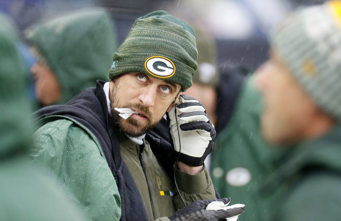 Green Bay Packers quarterback Aaron Rodgers looks at the scoreboard Nov. 12 against the Chicago Bears in Chicago. (Daniel White/Daily Herald via AP)