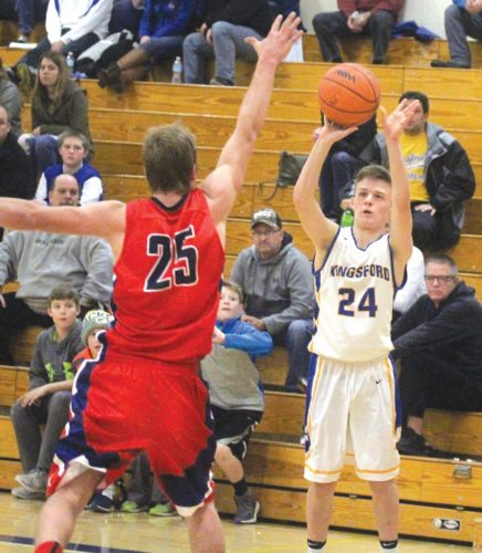 Kingsford's Gavin Londo (24) shoots against Westwood on Friday in Kingsford. (Theresa Proudfit/The Daily News)