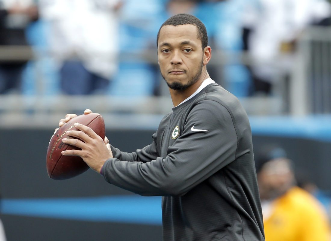 Green Bay Packers' Brett Hundley warms up before a game against the Carolina Panthers last Sunday in Charlotte, N.C. (AP Photo/Bob Leverone)