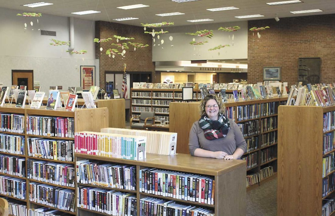 DICKINSON COUNTY LIBRARY Director Megan Buck stands in the Reading Room that will be fully remodeled after a fundraising drive raised $20,000 to qualify for a matching $20,000 grant from the Michigan Economic Development Corporation. (Theresa Proudfit/Daily News photo)