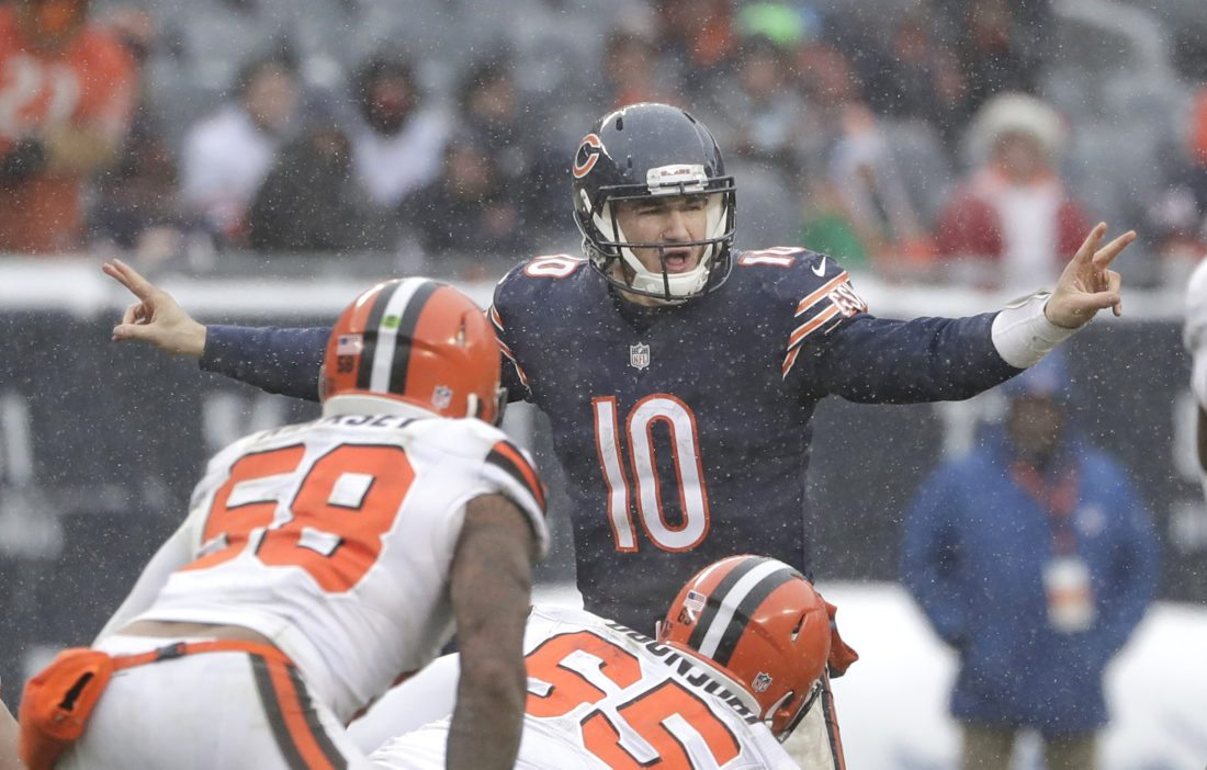 Chicago Bears quarterback Mitchell Trubisky (10) signals against the Cleveland Browns last sunday in Chicago. (AP Photo/Nam Y. Huh)