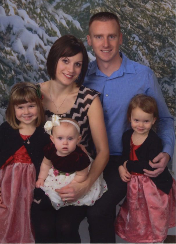 The Touchett family has created a scholarship in memory of Staff Sergeant Timothy Touchett. Pictured in this 2013, are Tim and Sarah Touchett with their daughters, Evelyn, Sophia, and Delilah.