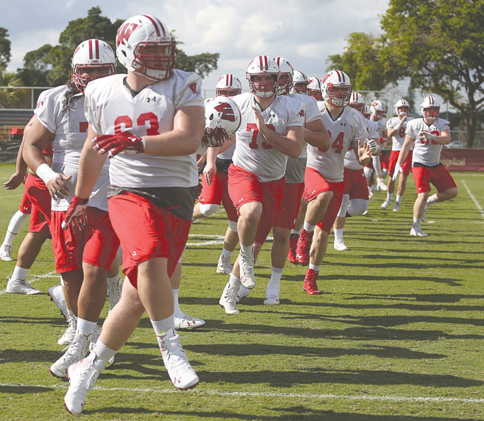 AP Photo Wisconsin players warm up in Miami Shores, Fla., in preparation for tonight's Orange Bowl.