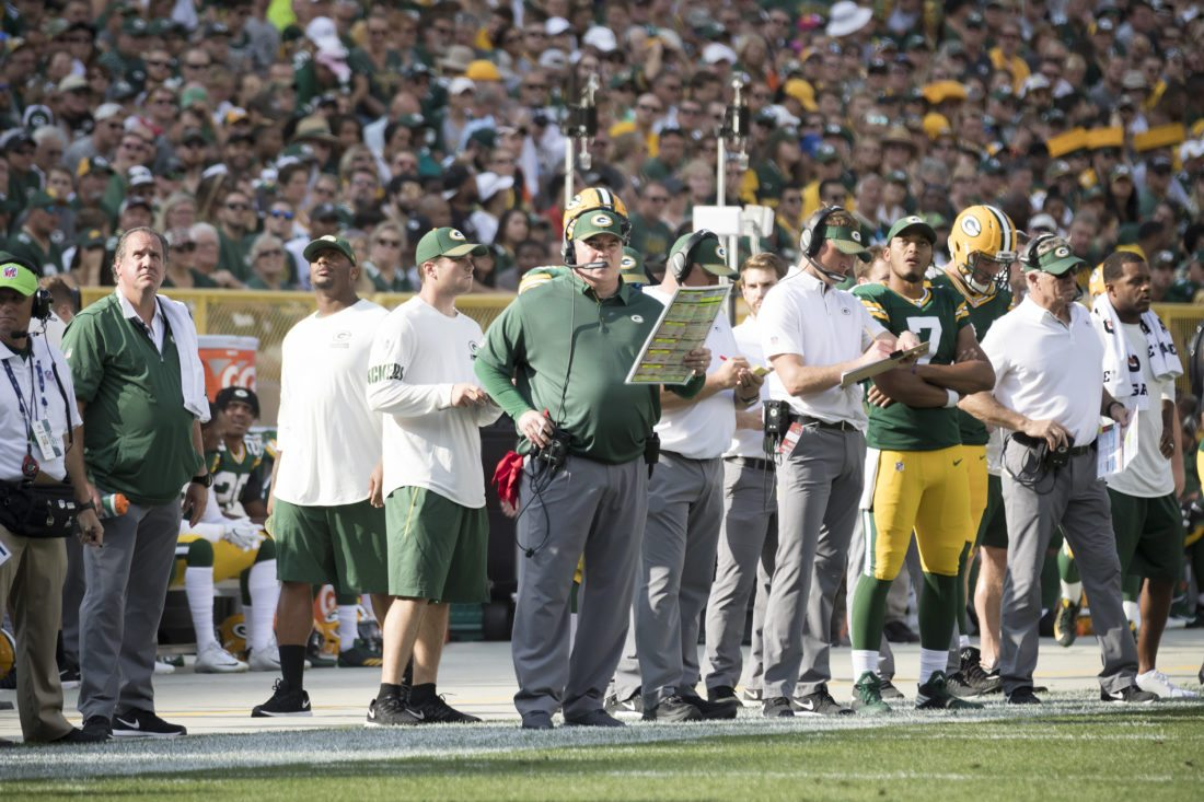 Green Bay Packers head coach Mike McCarthy is shown during a game against the Cincinnati Bengals on Sunday, Sept. 24, 2017, in Green Bay, Wis. (Adam Niemi/Iron Mountain Daily News)