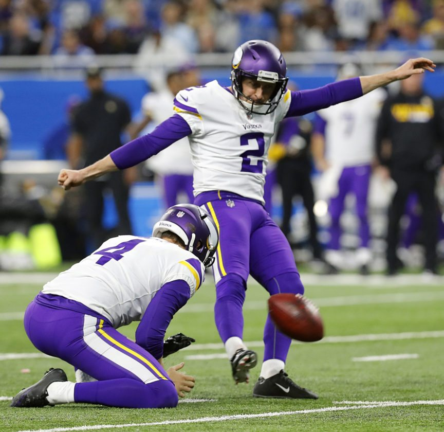 """FILE - In this Nov. 23, 2017, file photo, Minnesota Vikings kicker Kai Forbath (2) kicks a field goal from the hold of punter Ryan Quigley (4) during an NFL football game against the Detroit Lions, in Detroit. Minnesota kicker Kai Forbath was cut by New Orleans right before the 2016 season because Saints head coach Sean Payton had """"a gut feeling"""" they'd be better off with rookie Will Lutz. Now Forbath has the job with Vikings, who host the Saints in a divisional round playoff game on Sunday. (AP Photo/Paul Sancya, File)"""