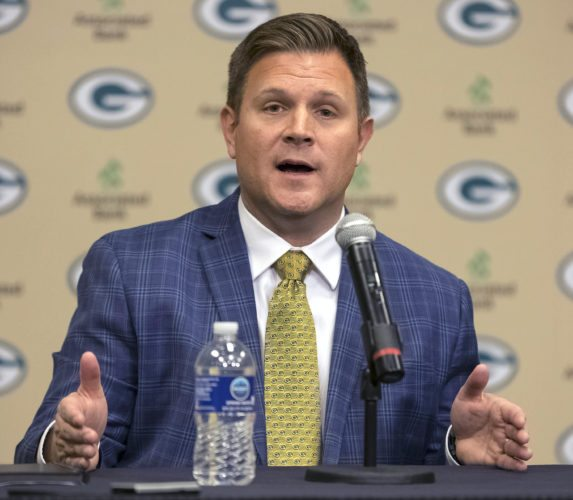 New Green Bay Packers NFL football team general manager Brian Gutekunst gestures while speaking at an introductory press conference on Monday in Green Bay, Wis. (AP Photo/Mike Roemer)