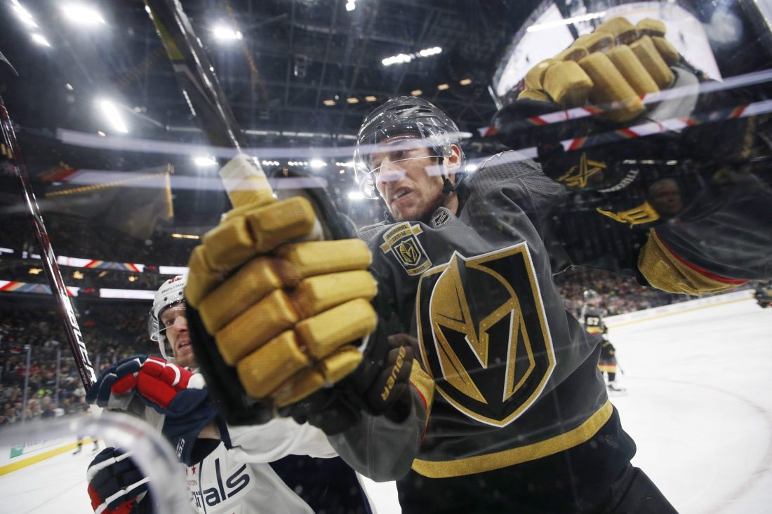 "Vegas Golden Knights defenseman Shea Theodore is shown during a Dec. 23 game against the Washington Capitals in Las Vegas. The US Army filed a challenge Wednesday opposing the trademark of the ""Vegas Golden Knights."" (AP Photo/John Locher)"