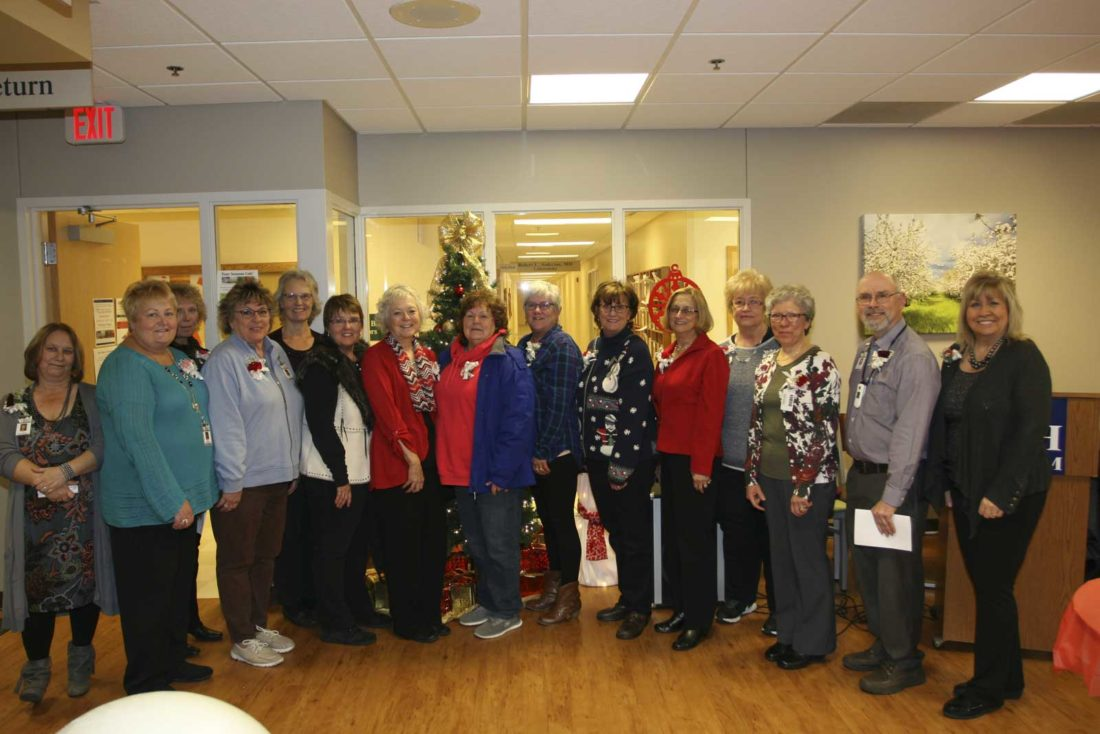 From left are recent Dickinson County Healthcare System retirees and their years of service: Tina Beaudoin, 23 years; Bonnie Krznarich, 13 years; Leanne Formolo, 25 years; Janis Strand, 17 years; Illene Zoppetti, 25 years; Diane Granquist, 30 years; Sandra Adams, 31 years; Fran Lovel, 18 years; Shelly Groeneveld, 38 years; Mary Opolka, 37 years; Mary Spera, 13 years; Deborah Johnson, 34 years; Cecelia Bussiere, 37 years; Keith Swanson, 40 years; and Sheryl LeBombard, 34 years. Not pictured are Pamela Freeman, 40 years; Sherri Porter, 40 years;  Diane Hansen, 37 years; Cheryl Gardipee, 33 years; Carla Swanson, 32 years; Lauri Kopp, 28 years; Debra Bartnikowski, 23 years; Cindy Rudd, 23 years; Diane Erickson, 16 years; Darlene Hawley, 16 years; Guy Kay, 16 years; and Kristine Heirman, 13 years.