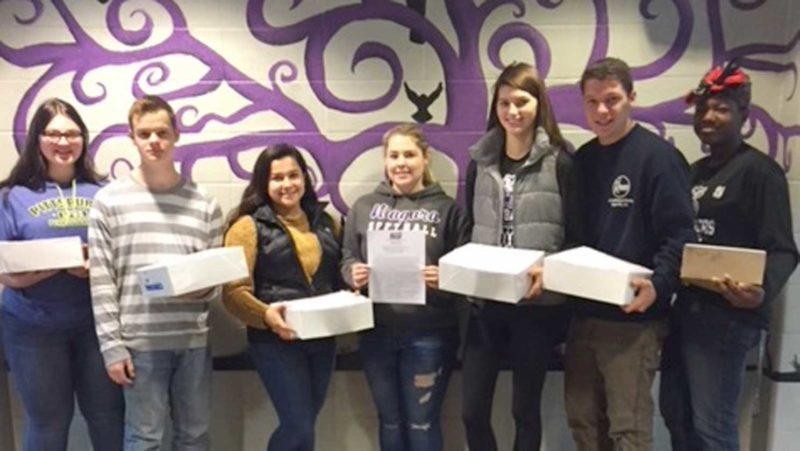 Niagara High School seniors display some of the 2018 NASF Alumni Scholarship Fund Drive letters which are being mailed to NHS alumni across the nation this week. Pictured left to right are Abby Provencher, Jared Linsmeyer, Ruby Aranda, Sydney Hedmark, Maddie West, Alex Hagerty, and Ki'Eircidy Hannah.