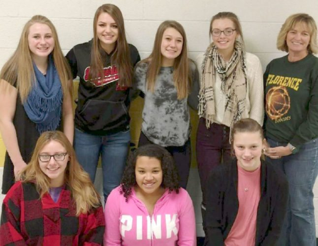 Florence High School students who earned credits in Microsoft Word include, from left, in front: Natalie Swanson, Danessa Wegand and Faith Neuens; in back: Kendralee Milan, Shayla McLain, Lexi LaChapelle, Jenna Springer and instructor Kay McLain.