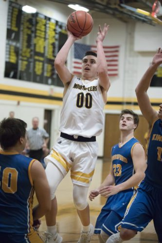 Iron Mountain's Foster Wonders takes a shot against Kingsford on Tuesday, Jan. 16, 2018, in Iron Mountain, Mich. (Adam Niemi/Iron Mountain Daily News)